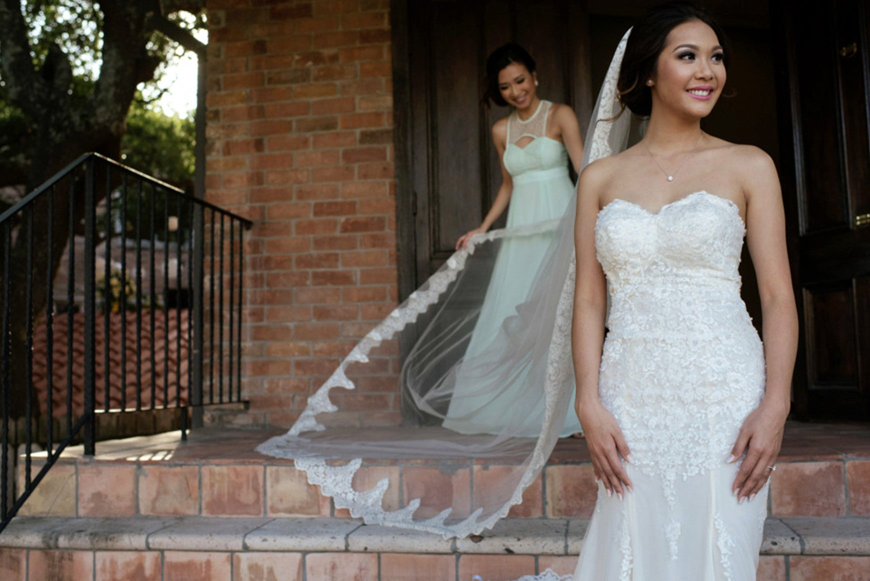 Cathedral Bridal Veil With Lace Trim Edge (#Helaine)
