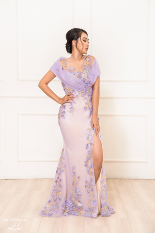 Purple Floral Embellished Gown (#Phoenix)