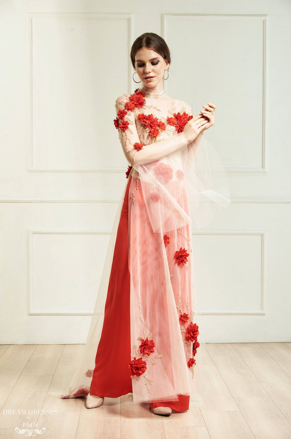 Red Ao Dai | Vietnamese Bridal Dress with Embellishment (#INA)
