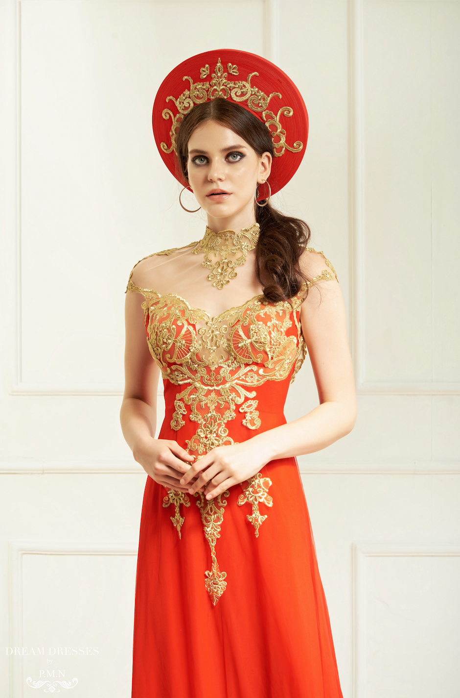 Red and Gold Ao Dai Hat | Vietnamese Bridal Hat (#KARA)