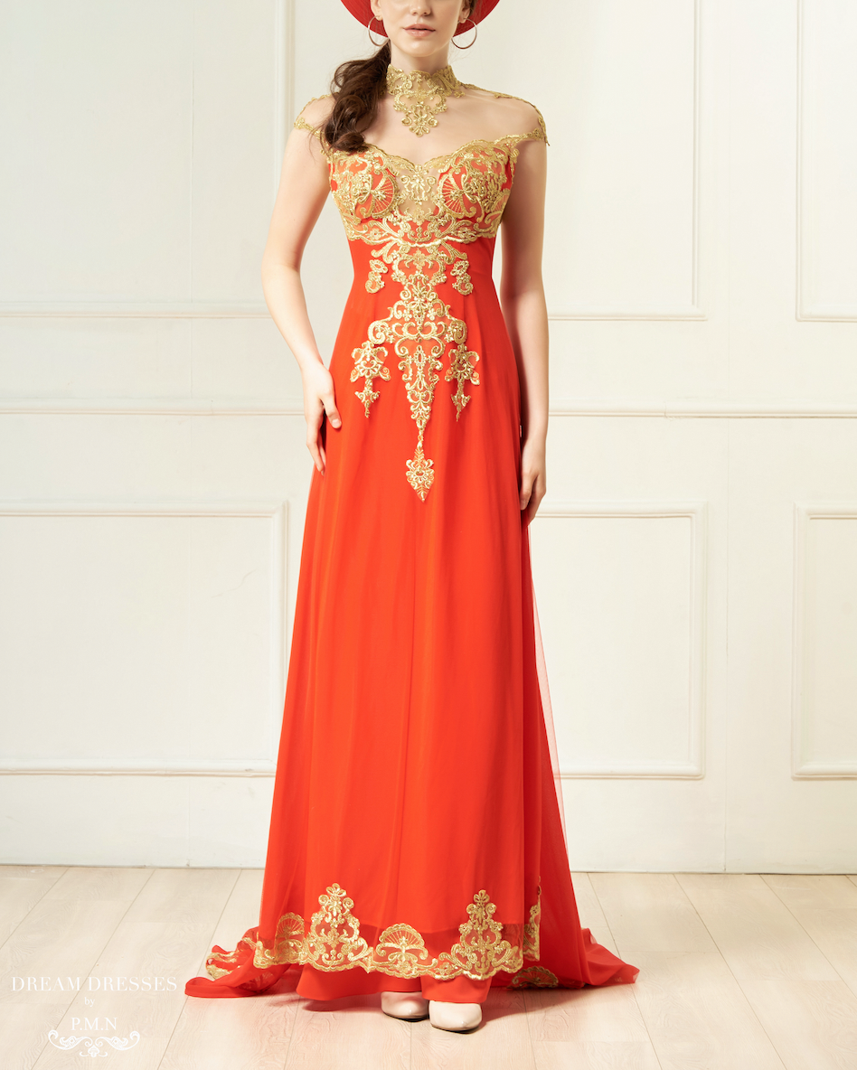 Red and Gold Ao Dai | Vietnamese Bridal Dress (#KAROLIA)