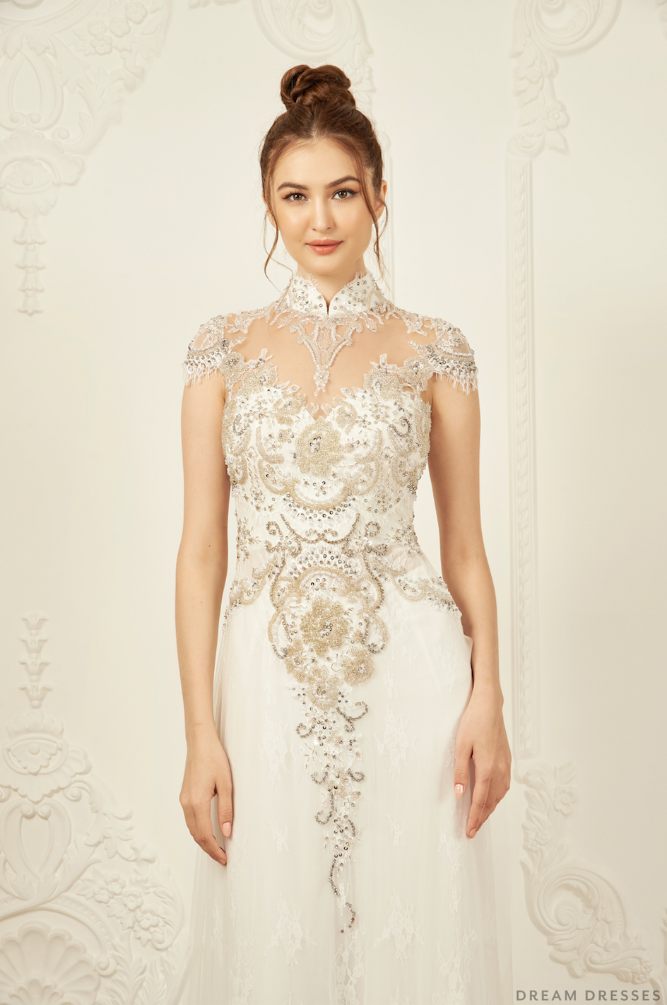 White Bridal Ao Dai | Modern Vietnamese Bridal Dress with Embellishments (#ANTHEA)