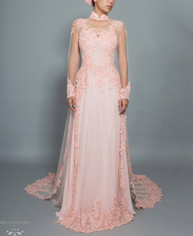 Blush Pink Bridal Ao Dai | Vietnamese Bridal Dress with Embellishment (#TALA)