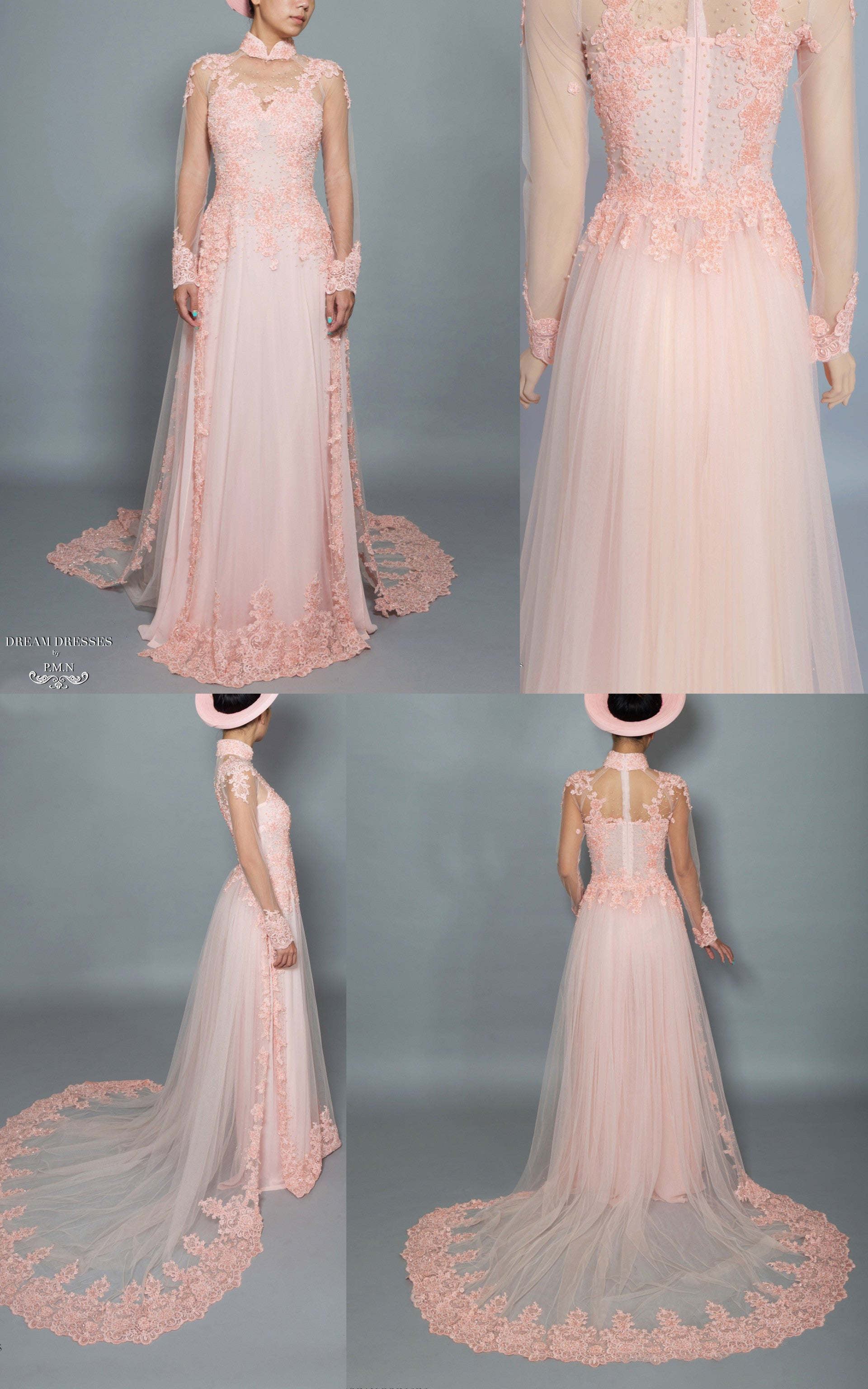 Blush Ao Dai | Vietnamese Bridal Dress with Embellishment (#TALA)