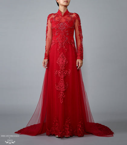Red Bridal Ao Dai | Vietnamese Lace Bridal Dress (#TALIN)