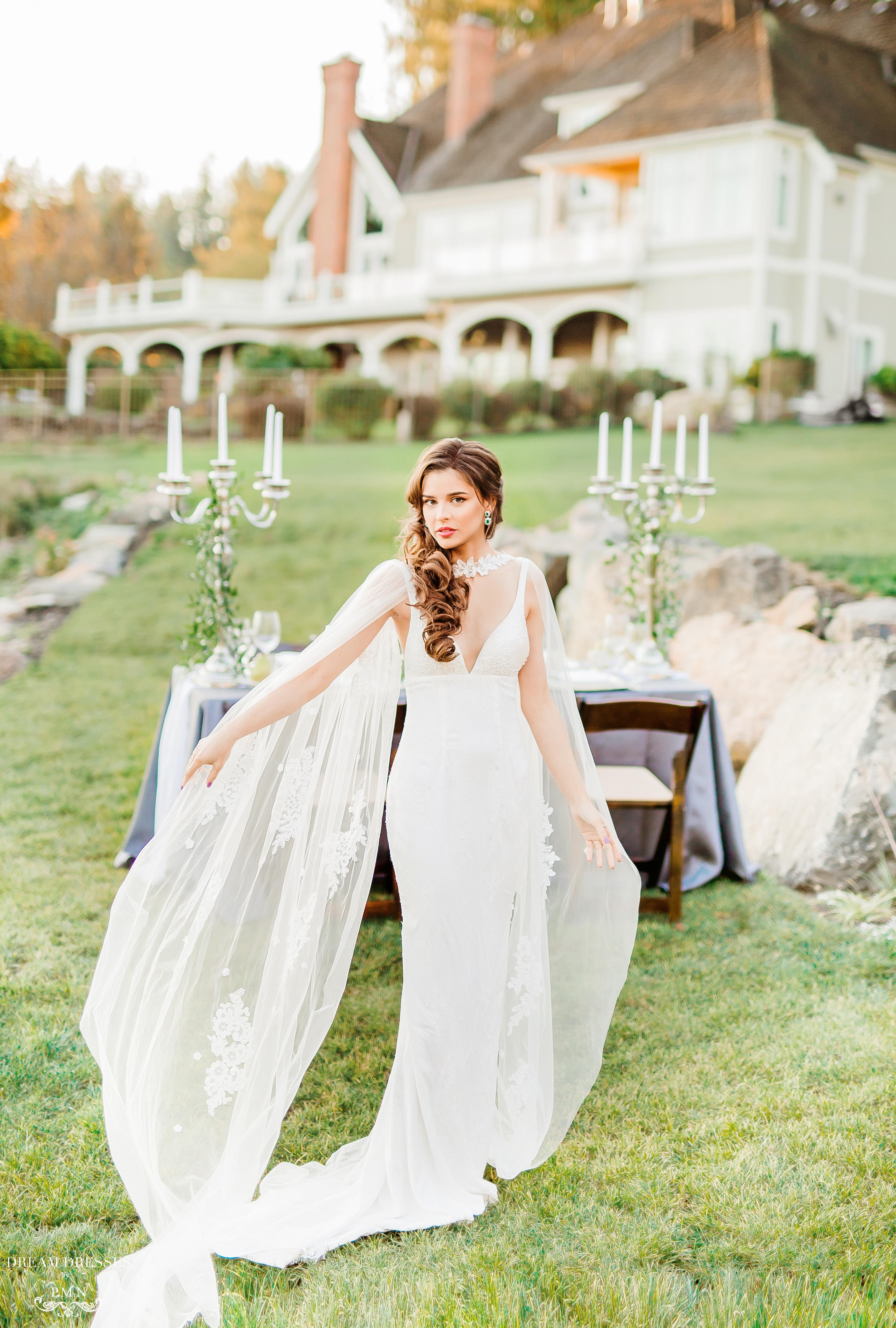 Chapel Bridal Cape Veil (#Veda)