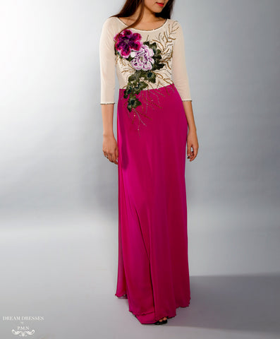 Color Block Modern Ao Dai | Vietnamese Bridal Dress with Embroidery Flowers (#VILLETTA)