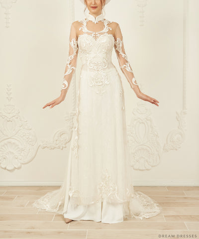 White Bridal Ao Dai | Vietnamese Lace Bridal Dress (#VIVIA)
