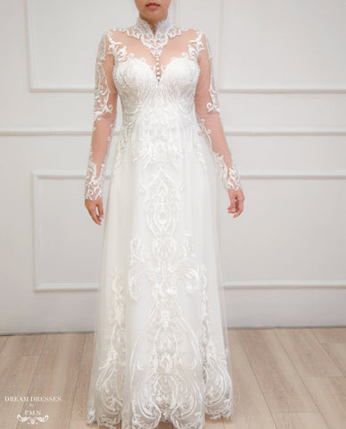 White Ao Dai | Modern Vietnamese Lace Bridal Dress (#YVONNE)