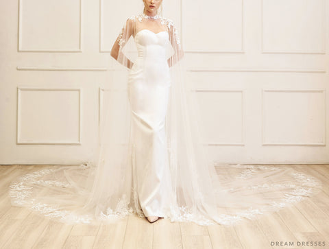 Lace Bridal Cape Veil (#YVES)