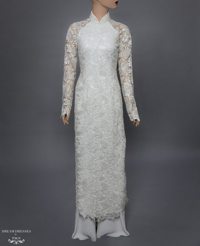 White Ao Dai | Vietnamese Lace Bridal Dress (#ALEXANDRIA)