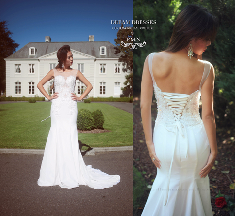 SAMPLE SALE/ Fit-n-Flare Wedding Dress With Illusion Neckline - Dream Dresses by P.M.N  - 1