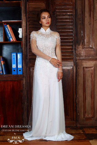 WHITE AO DAI-Vietnamese Bridal Dress with All Over Hand-Beading (#PB104) - Dream Dresses by P.M.N  - 1