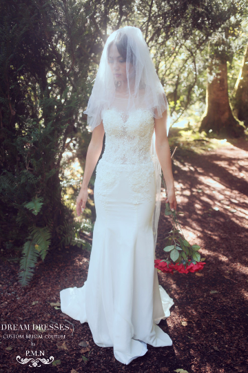 SAMPLE SALE/ Fit-n-Flare Wedding Dress With Illusion Neckline