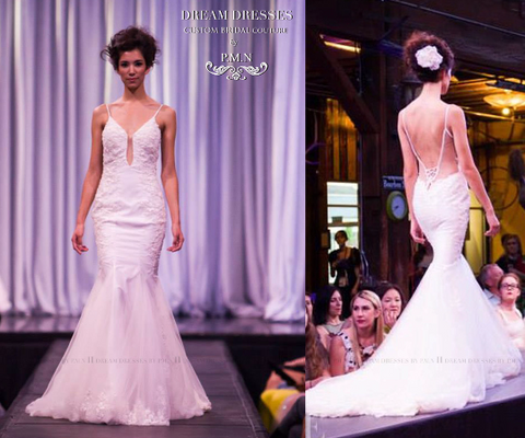Sample Sale/ Spaghetti Strap Mermaid Wedding Dress With Bare Back (#PB088) - Dream Dresses by P.M.N  - 1