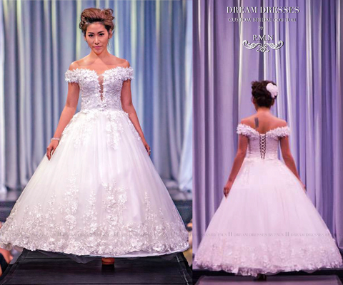 SAMPLE SALE/ Off Shoulder Lace Ball Gown with 3D Flowers Lace Appliques (Style #PB146) - Dream Dresses by P.M.N  - 1