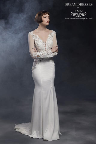 Long Sleeve Wedding Dress With Lace Top (#SS16101) - Dream Dresses by P.M.N  - 1