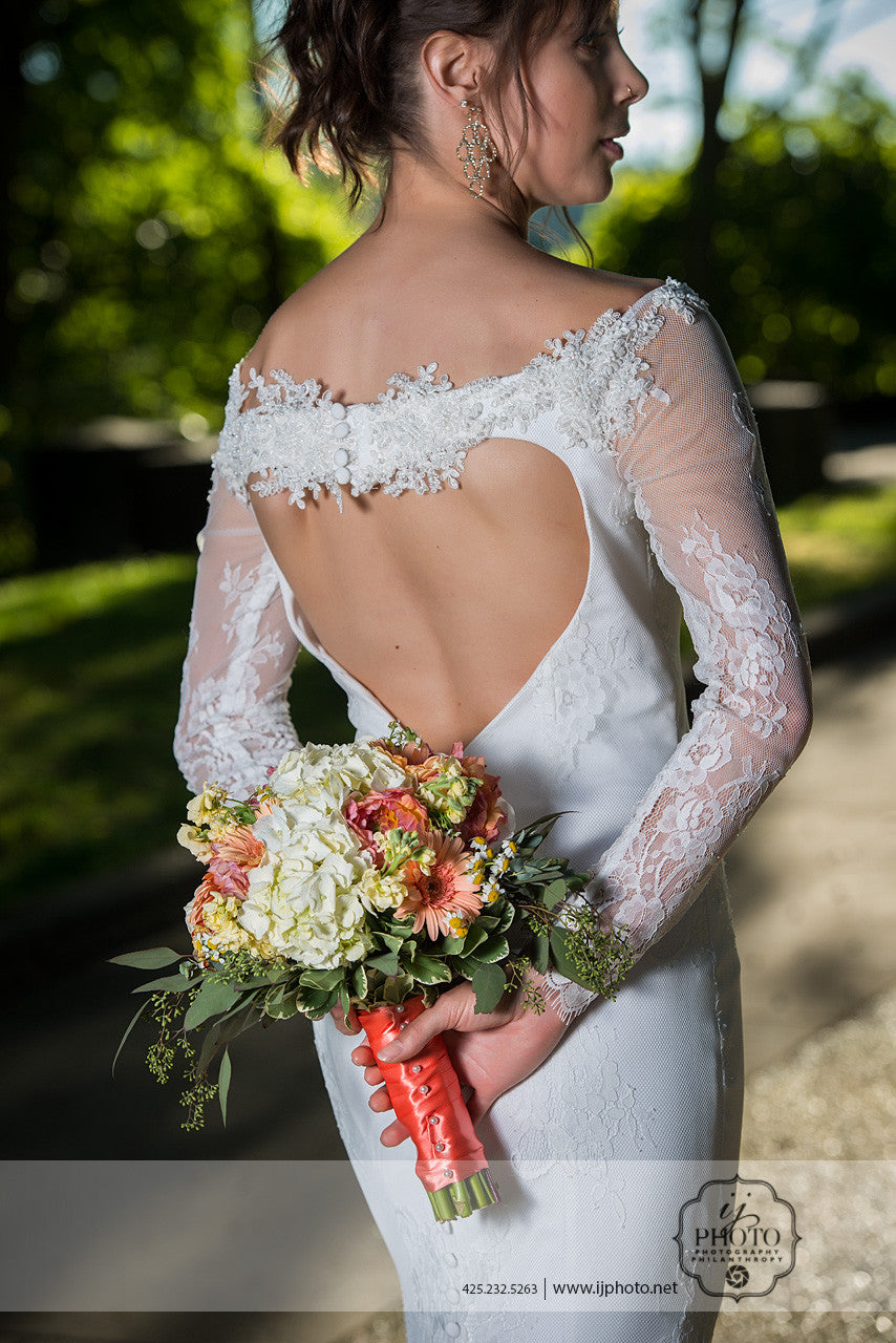SAMPLE SALE / Long Sleeve Sheath Wedding Dress (Style Anita #PB1934) - Dream Dresses by P.M.N  - 7