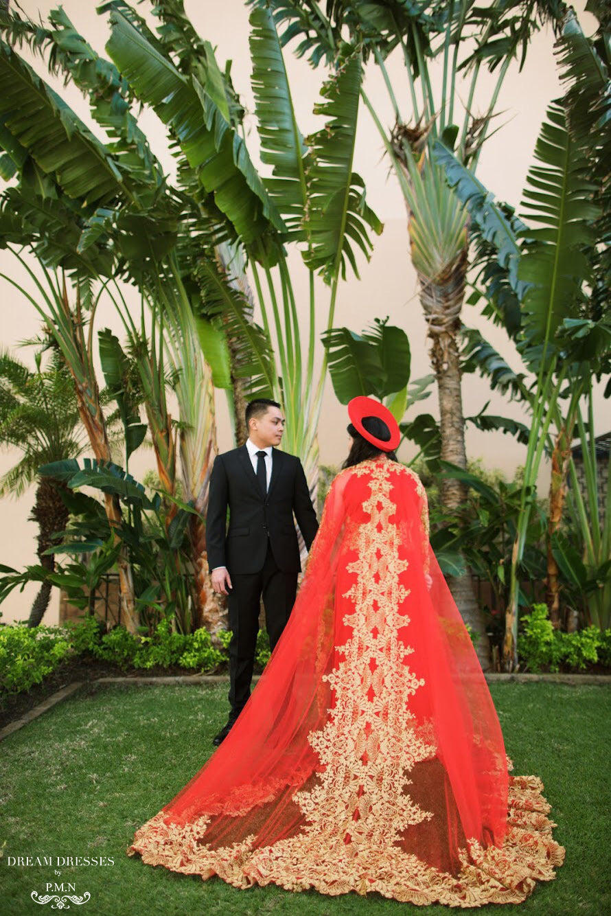 Red Ao Dai Cape | Vietnamese Lace Bridal Ao Dai Cape (#TEMA)