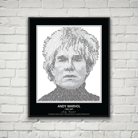 Original Andy Warhol Poster in his own words. Image made of Andy Warhol's Quotes!