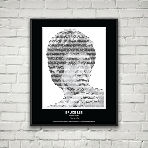Original Bruce Lee Poster In his own words. Image made of Bruce Lee quotes!