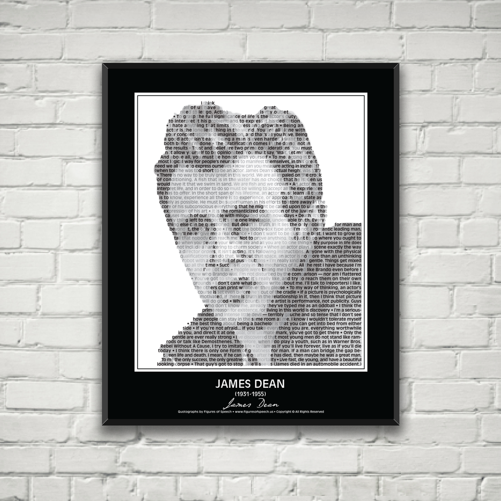 Original James Dean Poster in his own words. Image made of James Dean's quotes!