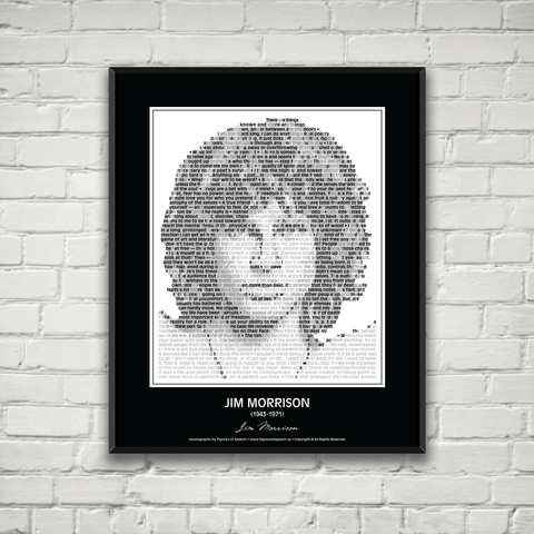 Original Jim Morrison Poster in his own words. Image made of Jim Morrison's quotes