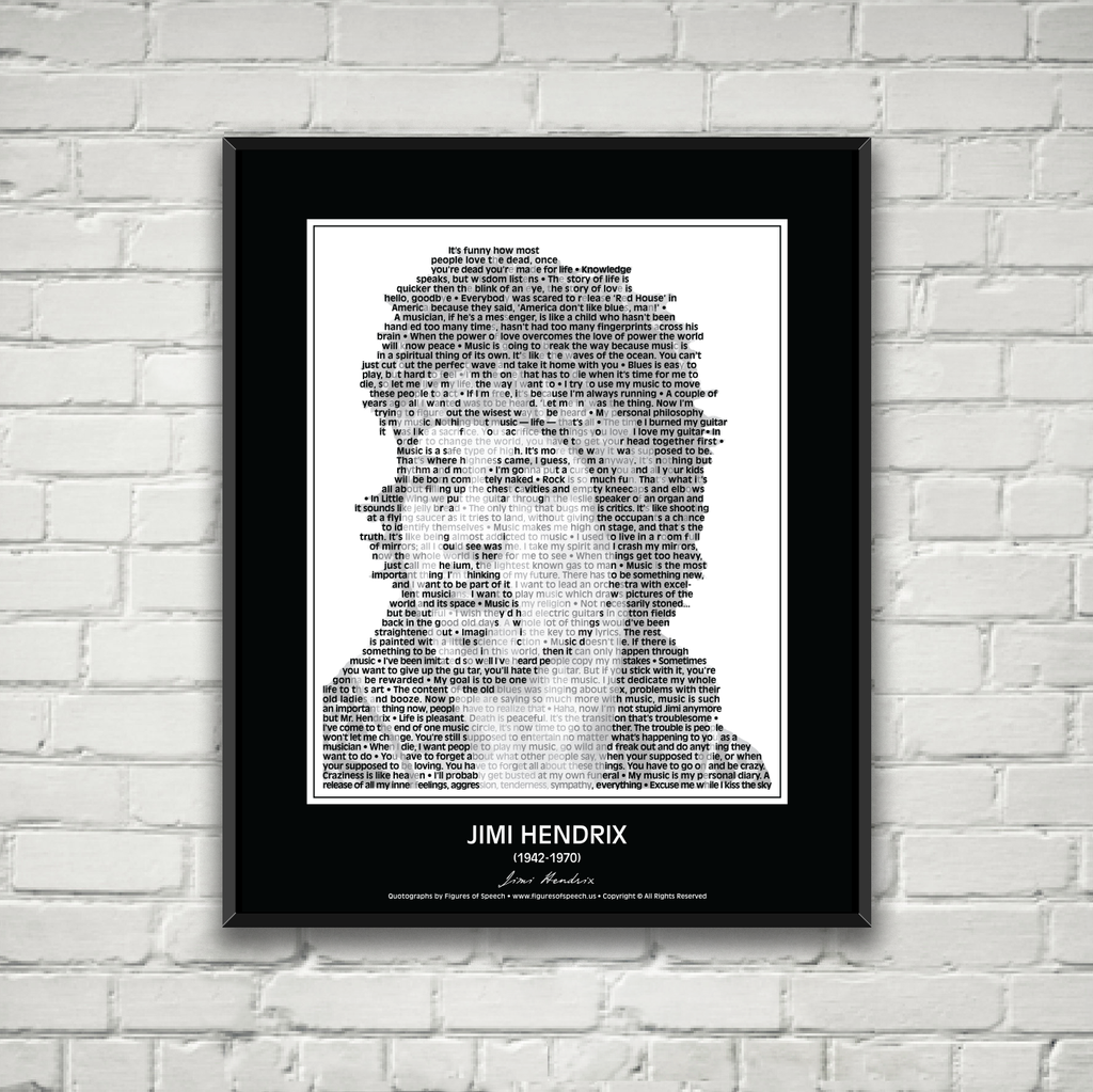 Original Jimi Hendrix Poster in his own words. Image made of Jim Hendrix's quotes!