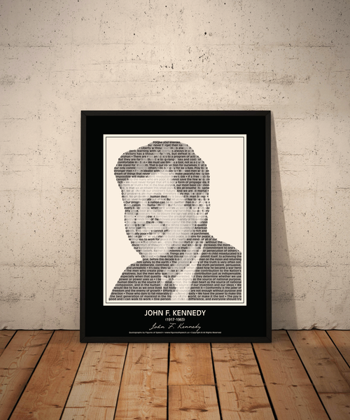Original John F. Kennedy Poster in his own words. Image made of JFK'S quotes!