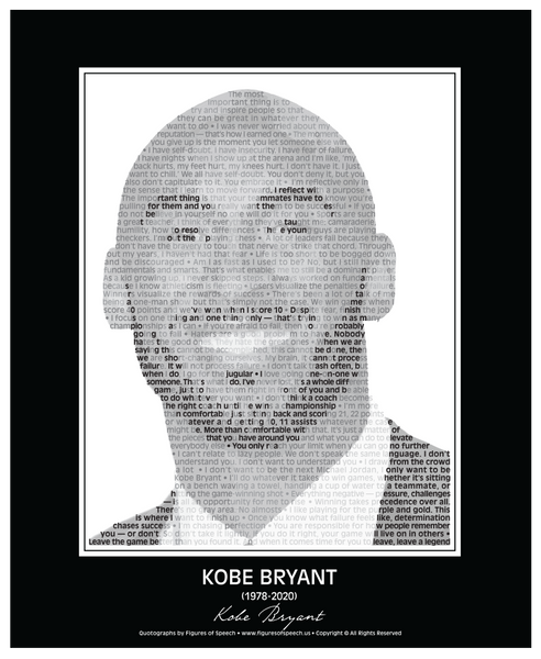 Kobe Bryant Poster in his own words. Image made of Kobe Bryant quotes!