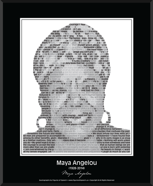 Original Maya Angelou Poster in her own words. Image made ofMaya Angelou's quotes!