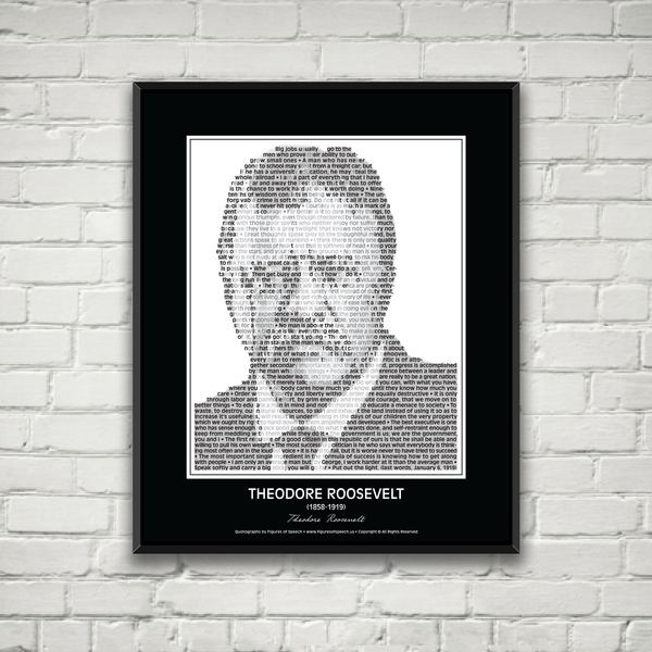 Theodore Roosevelt Poster in his own words. Image made of Teddy's quotes!