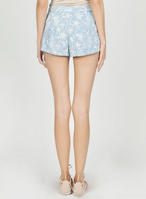 Mur Mur Denim Look Shorts w/ Embroidery