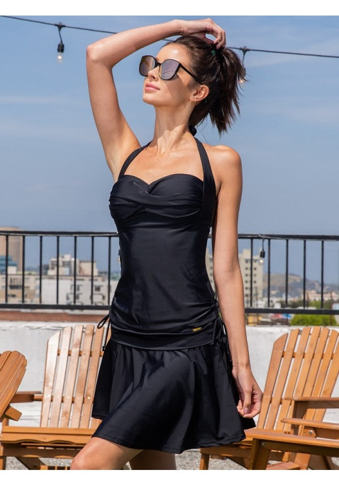 Two Piece Solid Tank and Skirt Bottom Swimsuit Set in Black