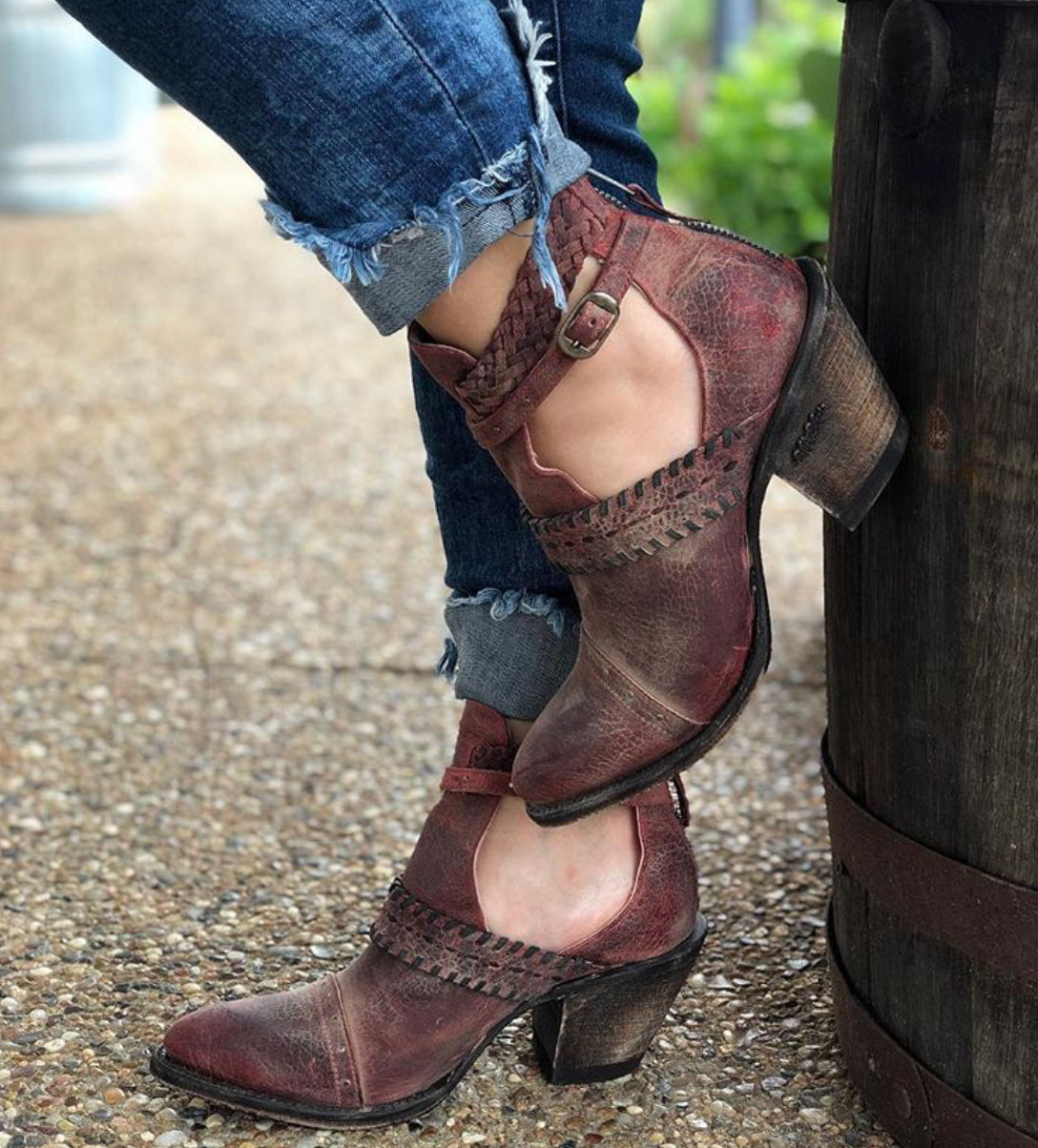 "Miss Macie ""I Dare You"" Red Bootie - tempting-teal-boutique"