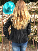 Montanaco Prairie Wind Faux Leather Jacket with Fringe in Black
