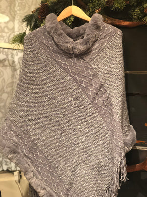Soft Knit Poncho w/ Faux Fur Trim