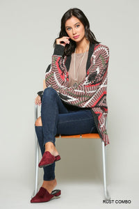 Geo Design Open Cardigan w/ Bat Wing Sleeves in Rust Combo