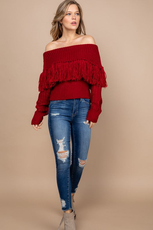 Off Shoulder Fringed Knit Sweater in Red