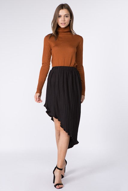 Asymmetrical Pleated Skirt in Black