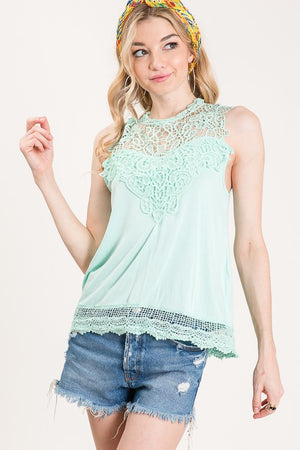 Rayon Spandex Sleeveless Lace Top in Mint or Black - tempting-teal-boutique