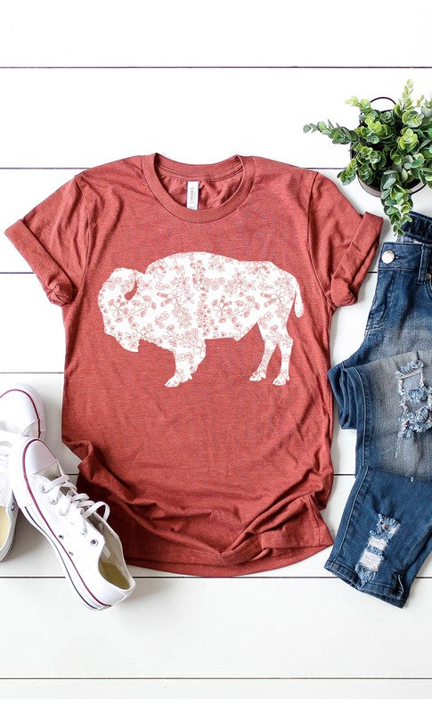 Floral Design Buffalo Graphic Tee in Heather Clay - tempting-teal-boutique