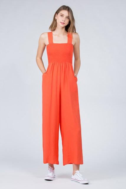 Elastic Bodice Jumpsuit in Turmeric w/ Pockets