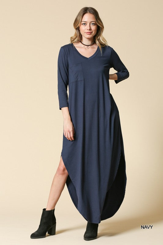 Maxi Dress w/ 3/4 Sleeves and Open Sides in Navy