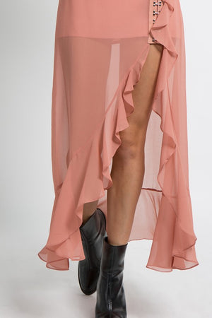 Chiffon Hook & Eye Ruffle Skirt in Pale Pink - tempting-teal-boutique