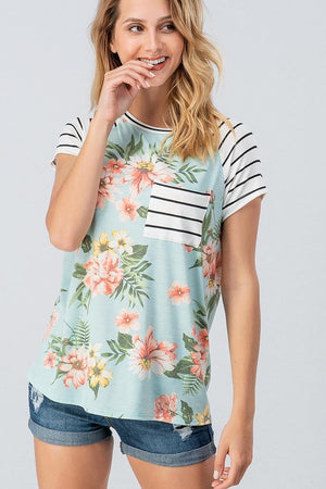 Floral Print Tee w/ Striped Sleeve and Front Pocket - tempting-teal-boutique