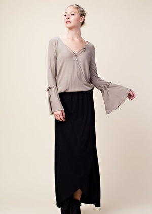 Thermal Pullover Top w/ Open Front Crossover in Stone