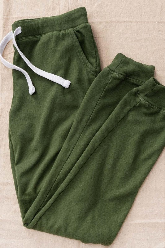 Vintage Wash Jogger Sweatpants in Dark Olive