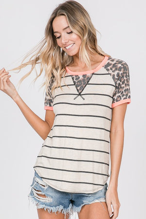 Stripe Raglan Top w/ Leopard Detail on Sleeves