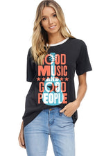 Good Music Good People Graphic Top in Charcoal - tempting-teal-boutique